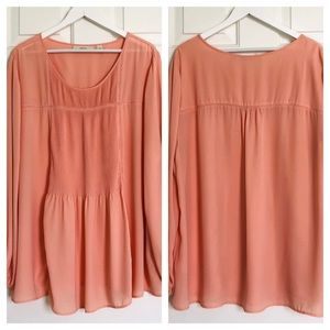 Sejour, Peach Tunic with Pleating, size 20W